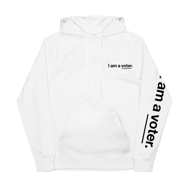 I am a voter. unisex white sweatshirt