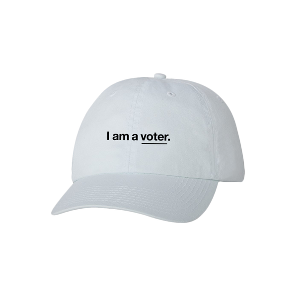 I am a voter. unisex white baseball cap