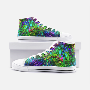 Spring Grass, Unisex High Top Canvas Shoes