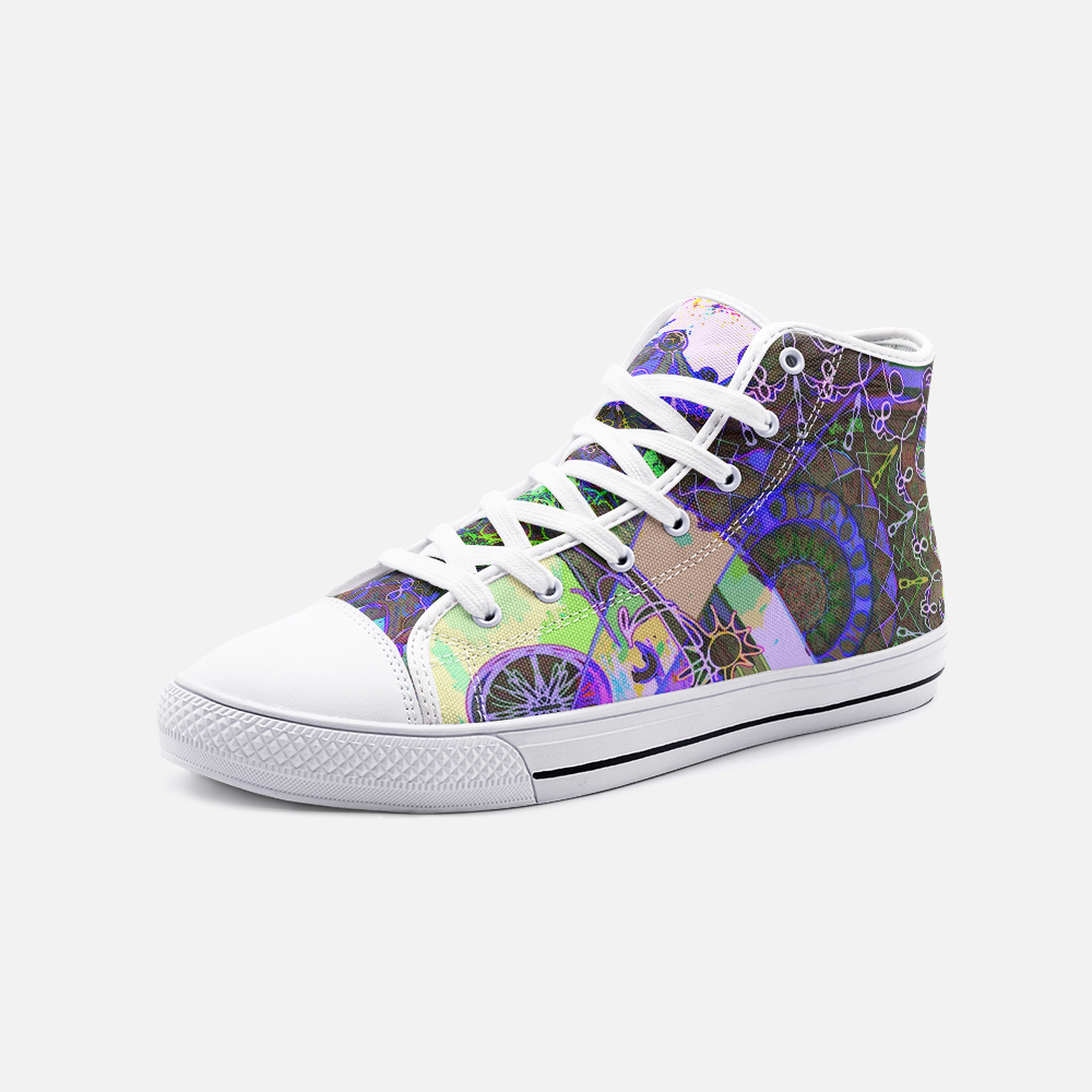 Psychedelic Mandala, Unisex High Top Canvas Shoes