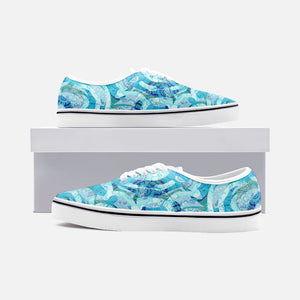 Blue Mandala Groove Unisex Canvas Shoes Low Cut Loafer Sneakers