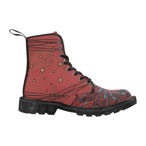 Red Desert Mandala. Lace up Boots for Women