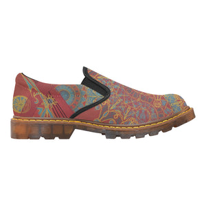 Red Mandala Root , Women's Slip-On Loafer