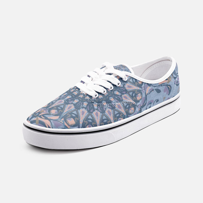 Mandala Party, Blues, Unisex Canvas Shoes Low Cut Loafer Sneakers