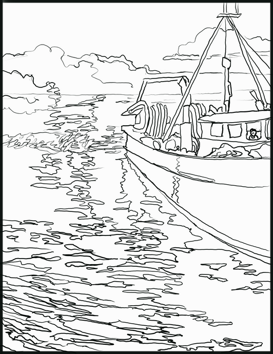 Fishing Boat Downloadable coloring page