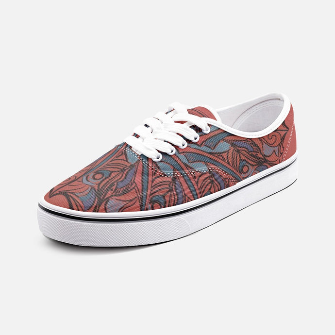 Red Mandala Unisex Canvas Shoes  Low Cut Loafer Sneakers