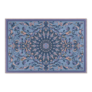 Fanciful Mandala, Blues Area Rug