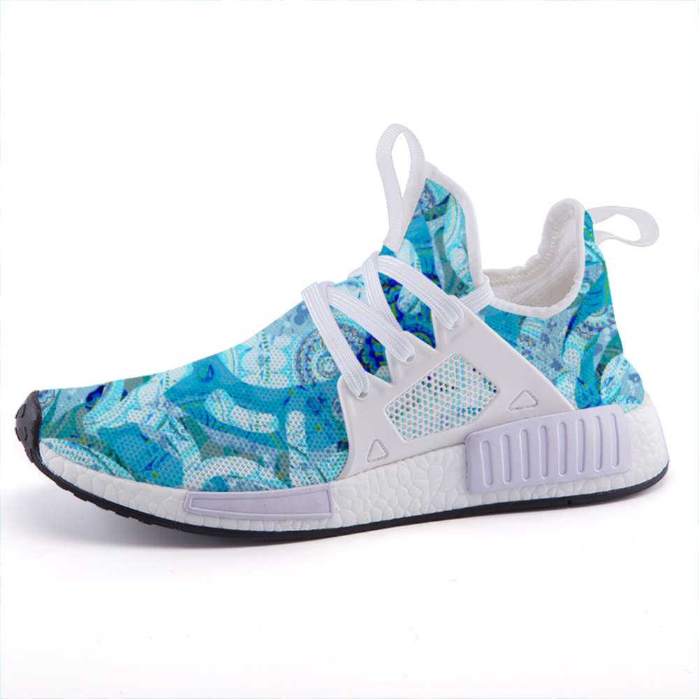 Light Blue Mandala Lightweight fashion sneakers casual sports shoes