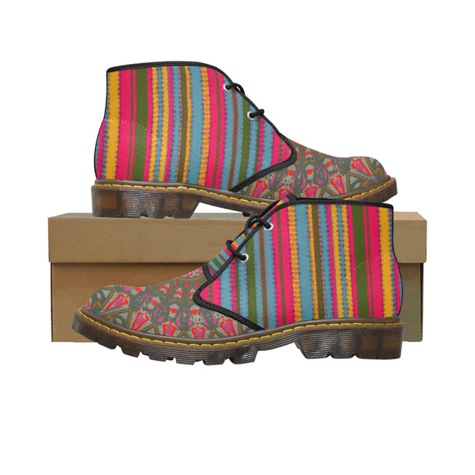Rasta Stripe Mandala Short Women's Canvas Chukka Boots