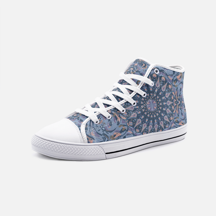 Mandala Party, Blues, Unisex High Top Canvas Shoes