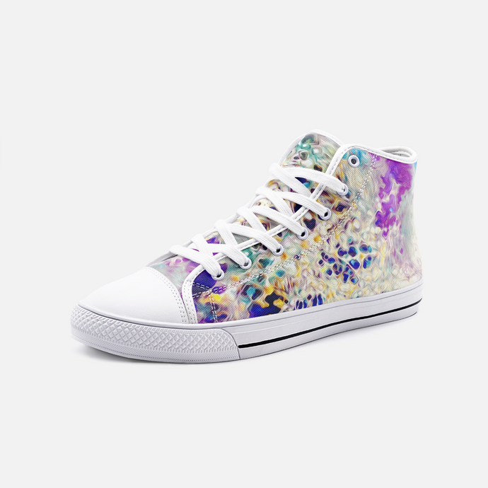 Mesh Abstract, Unisex High Top Canvas Shoes