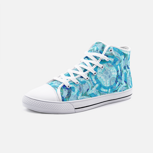 Blue Mandala Groove, Unisex High Top Canvas Shoes
