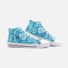 Load image into Gallery viewer, Blue Mandala Groove, Unisex High Top Canvas Shoes