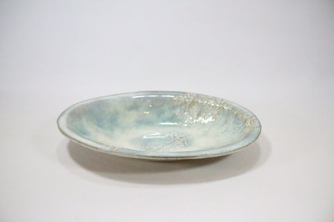 Oval Server - Off white blue/green with pattern