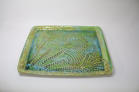 Rectangular Platter - Blue/Green with lace