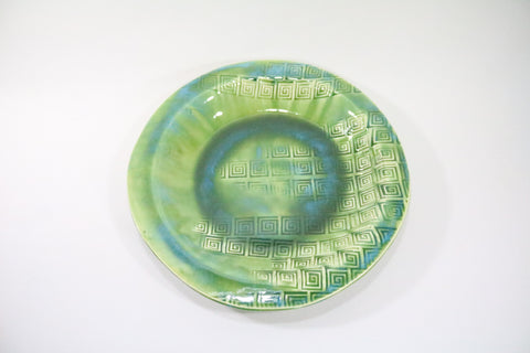 Round Platter (Large) - Ocean Floor Green with pattern