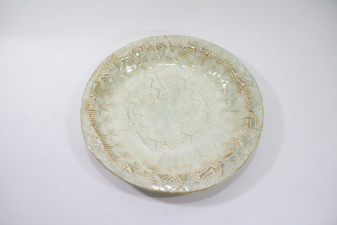 Round Platter (Large) - Off White with pattern