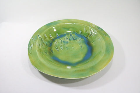 Round Platter (Large) - Bright green with pattern