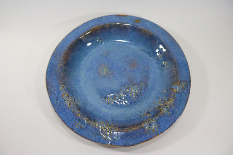 Round Platter (Large) - Texture Blue with pattern