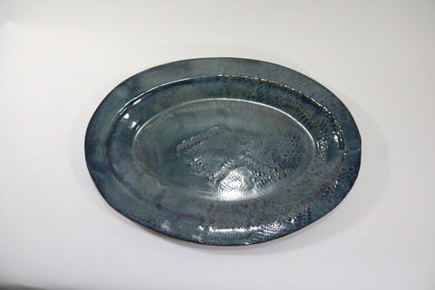 Oval Platter - Storm Cloud Blue/Grey with lace