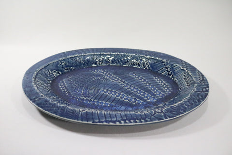 Oval Platter - Saphire Blue with lace