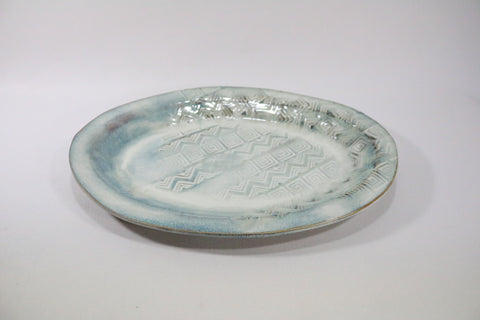 Oval Platter - Winter Ice with pattern