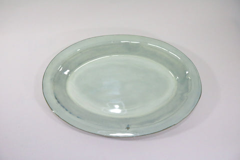 Oval Platter - Off white/pale green