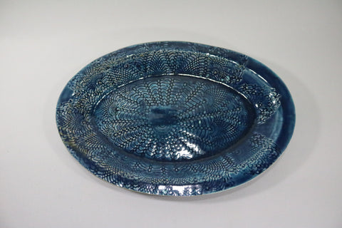 Oval Platter - Midnight Blue with lace