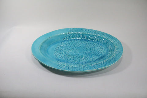 Oval Platter - Aqua with lace