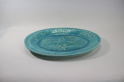 Oval Platter - Texture Teal with lace