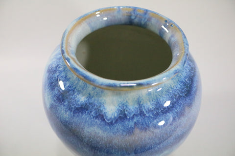 Vase (Wide neck amphora) - Ocean waves blue