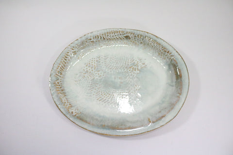 Small Oval Platter - Creamy White with lace