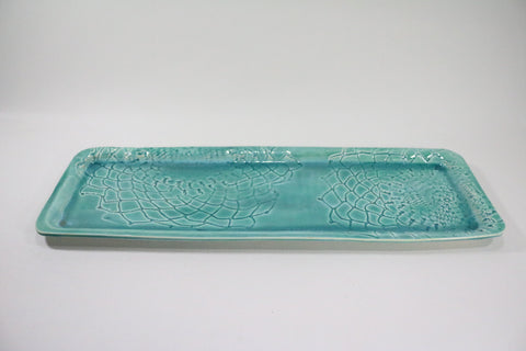 Skinny Rectangle Platter - Aqua with lace