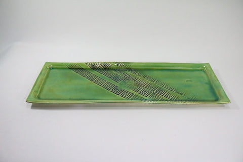 Skinny Rectangle Platter - Fern Green with Pattern