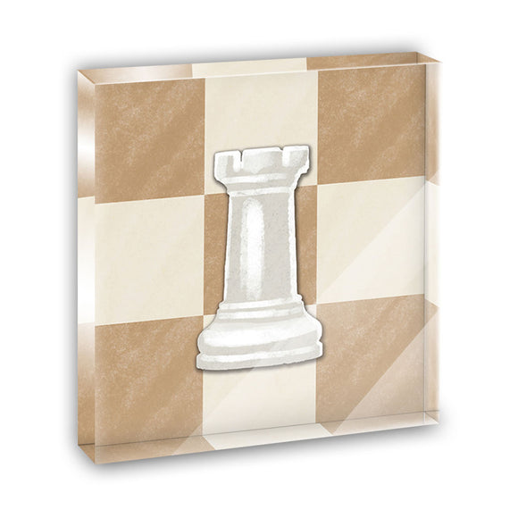 White Rook Chess Set Acrylic Office Mini Desk Plaque Ornament Paperweight
