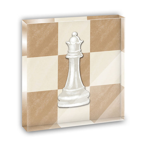 White Queen Chess Set Acrylic Office Mini Desk Plaque Ornament Paperweight