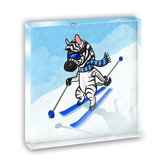 Zebra Skiing Acrylic Office Mini Desk Plaque Ornament Paperweight