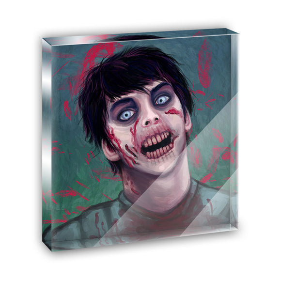 Zombified Boy Acrylic Office Mini Desk Plaque Ornament Paperweight
