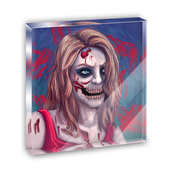 Zombified Girl Acrylic Office Mini Desk Plaque Ornament Paperweight