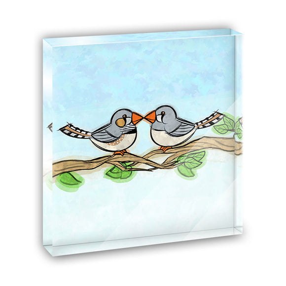 Zebra Finches Kissing Acrylic Office Mini Desk Plaque Ornament Paperweight