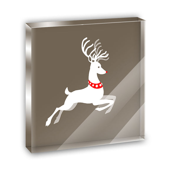 Prancing Reindeer Christmas Acrylic Office Mini Desk Plaque Ornament Paperweight