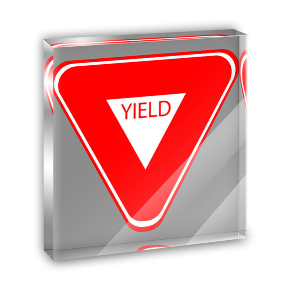 Yield Basic Red White Road Sign Acrylic Office Mini Desk Plaque Paperweight