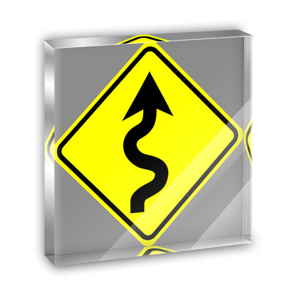 Winding Curvy Road Ahead Basic Yellow Sign Acrylic Desk Plaque Paperweight