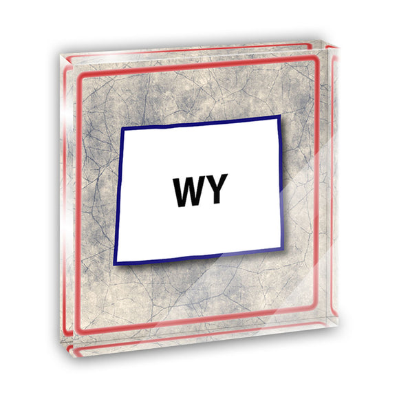 Wyoming WY State Outline on Faded Blue Acrylic Office Desk Plaque Paperweight