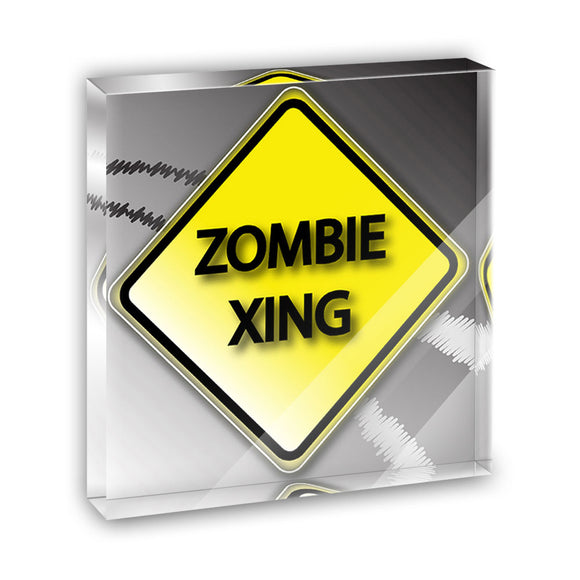 Zombie Xing Crossing Stylized Yellow Grey Caution Sign Acrylic Desk Paperweight
