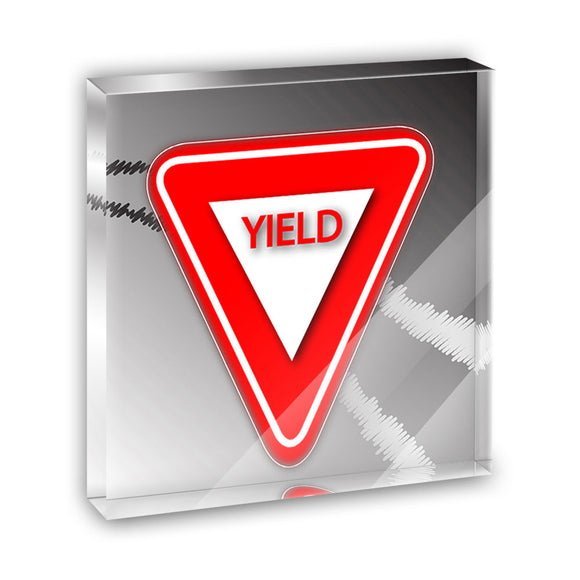 Yield Stylized Red Grey Triangular Sign Acrylic Office Desk Plaque Paperweight