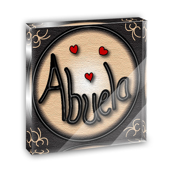 Abuela Grandmother Love Hearts Acrylic Office Mini Desk Plaque Paperweight