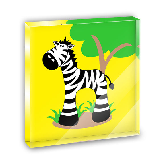 Zebra And Tree Cute Acrylic Office Mini Desk Plaque Ornament Paperweight