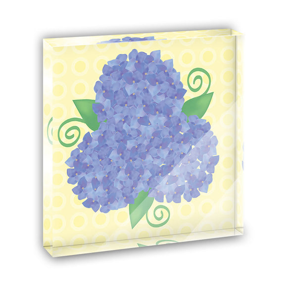 Hydrangea Flower Garden Trio Acrylic Office Mini Desk Plaque Paperweight