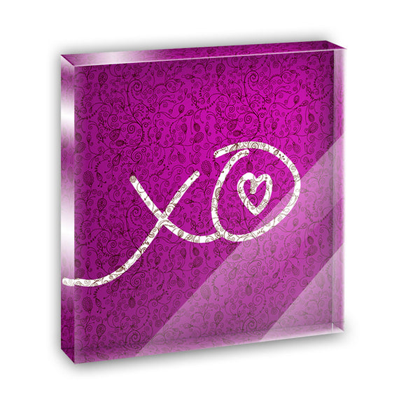 XO Hugs Kisses Love Acrylic Office Mini Desk Plaque Ornament Paperweight